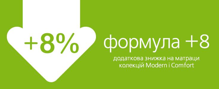 Формула +8 — дополнительная скидка 8% на матрасы коллекций Modern и Comfort